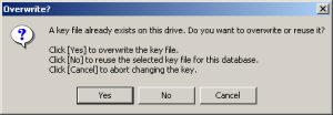 Key File Overwrite Prompt on Windows 2000/XP